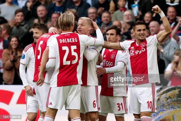 Donny van de Beek of Ajax celebrates 10 with Lasse Schone of Ajax Maximilian Wober of Ajax Kasper Dolberg of Ajax Nicolas Tagliafico of Ajax Dusan...