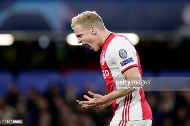 Donny van de Beek of Ajax Celebrates 1-4 during the UEFA Champions League match between Chelsea v Ajax at the Stamford Bridge on November 5, 2019 in...