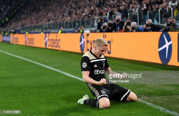 Donny van de Beek of Ajax celebrates after scoring a goal during the UEFA Champions League Quarter Final second leg match between Juventus and Ajax...