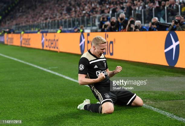 Donny van de Beek of Ajax celebrates after scoring a goal during the UEFA Champions League Quarter Final second leg match between Juventus and Ajax...