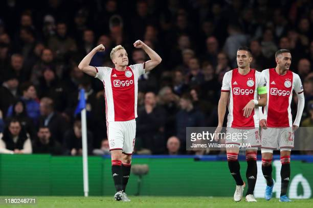 Donny van de Beek of Ajax celebrates after scoring a goal to make it 14 during the UEFA Champions League group H match between Chelsea FC and AFC...