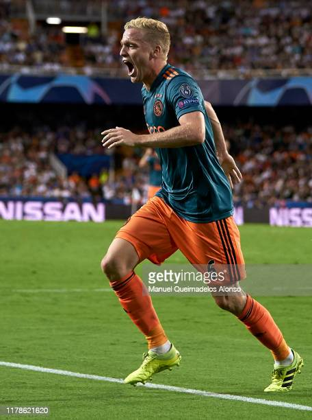 Donny van de Beek of Ajax celebrates after scoring his team's third goal during the UEFA Champions League group H match between Valencia CF and AFC...