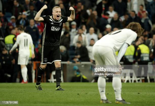 Donny Van De Beek of Ajax celebrates after winning UEFA Champions League Round of 16 second leg match against Real Madrid at Santiago Bernabeu...