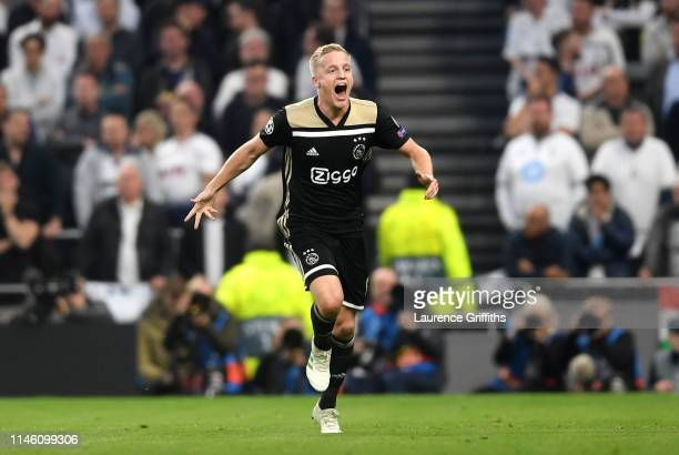 Donny van de Beek of Ajax celebrates as he scores his team's first goal during the UEFA Champions League Semi Final first leg match between Tottenham...