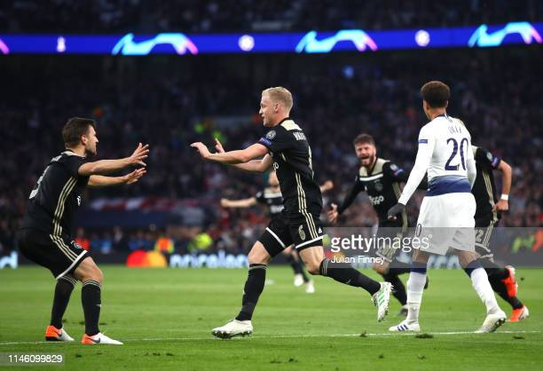 Donny van de Beek of Ajax celebrates as he scores his team's first goal with Joel Veltman during the UEFA Champions League Semi Final first leg match...