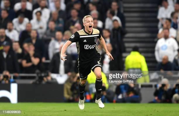 Donny van de Beek of Ajax celebrates as he scores his team's first goal during the UEFA Champions League Semi Final first leg match between Tottenham...