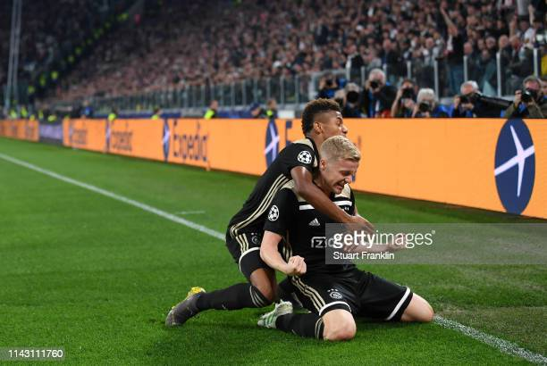 Donny van de Beek of Ajax celebrates scoring a goal during the UEFA Champions League Quarter Final second leg match between Juventus and Ajax at...