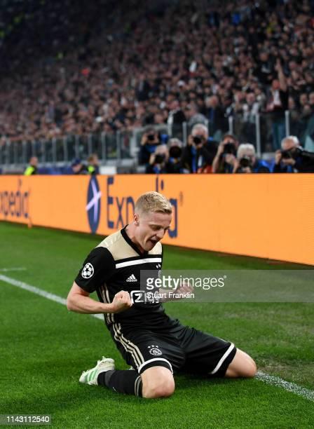 Donny van de Beek of Ajax celebrates scoring a goal during the UEFA Champions League Quarter Final second leg match between Juventus and Ajax at...