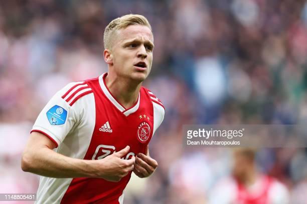 Donny van de Beek of Ajax celebrates scoring his teams second goal of the game during the Dutch Eredivisie match between Ajax and Utrecht at Johan...