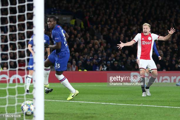 Donny van de Beek of Ajax celebrates scoring their 4th goal before it even crosses the line during the UEFA Champions League group H match between...