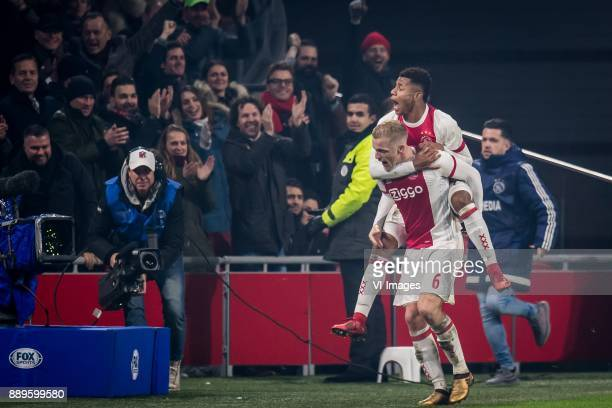 Donny van de Beek of Ajax David Neres of Ajax 30 during the Dutch Eredivisie match between Ajax Amsterdam and PSV Eindhoven at the Amsterdam Arena on...