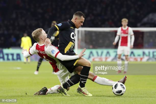 Donny van de Beek of Ajax Giovanni Korte of NAC Breda during the Dutch Eredivisie match between Ajax Amsterdam and NAC Breda at the Amsterdam Arena...