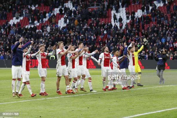 Donny van de Beek of Ajax Hakim Ziyech of Ajax Frenkie de Jong of Ajax Matthijs de Ligt of Ajax Joel Veltman of Ajax Maximilian Wober of Ajax Siem de...