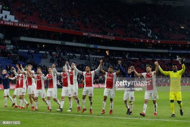 Donny van de Beek of Ajax Hakim Ziyech of Ajax Matthijs de Ligt of Ajax Joel Veltman of Ajax Nicolas Tagliafico of Ajax Siem de Jong of Ajax Lasse...