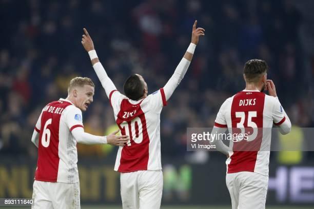 Donny van de Beek of Ajax Hakim Ziyech of Ajax Mitchell Dijks of Ajax during the Dutch Eredivisie match between Ajax Amsterdam and sbv Excelsior at...