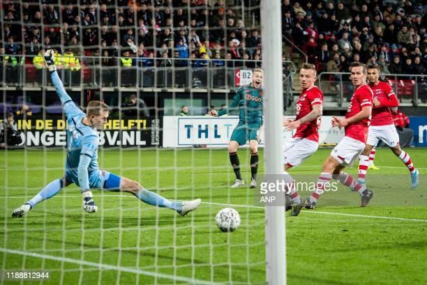 Donny van de Beek of Ajax just misses the goal during the Dutch Eredivisie match between AZ Alkmaar and Ajax Amsterdam at AFAS stadium on December 15...