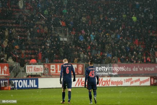Donny van de Beek of Ajax Justin Kluivert of Ajax during the Dutch Eredivisie match between Fc Twente v Ajax at the De Grolsch Veste on December 2...