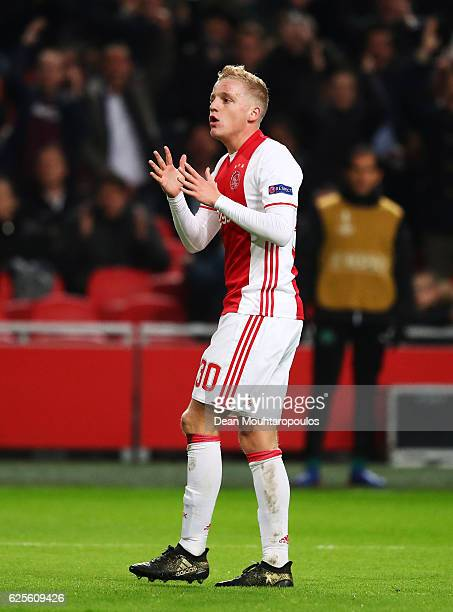 Donny van de Beek of Ajax reacts during the UEFA Europa League Group G match between AFC Ajax and Panathinaikos FC at Amsterdam Arena on November 24...