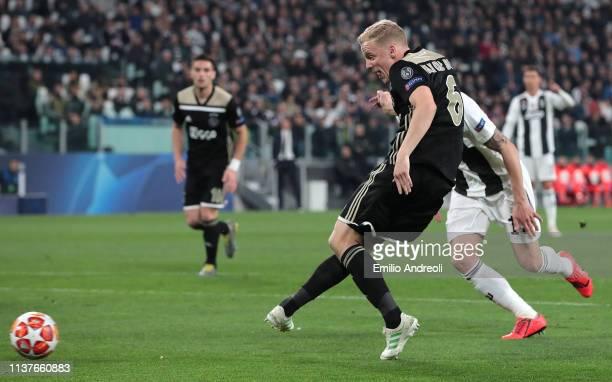 Donny Van De Beek of Ajax scores a goal during the UEFA Champions League Quarter Final second leg match between Juventus and Ajax at Juventus Stadium...