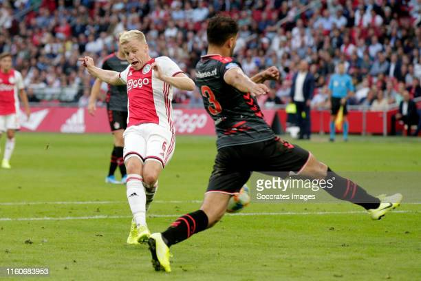 Donny van de Beek of Ajax scores the first goal to make it 10 during the Dutch Eredivisie match between Ajax v FC Emmen at the Johan Cruijff Arena on...