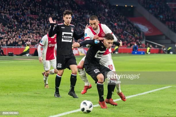 Donny van de Beek of Ajax Thom Haye of Willem II Hakim Ziyech of Ajax Konstantinos Tsimikas of Willem II during the Dutch Eredivisie match between...