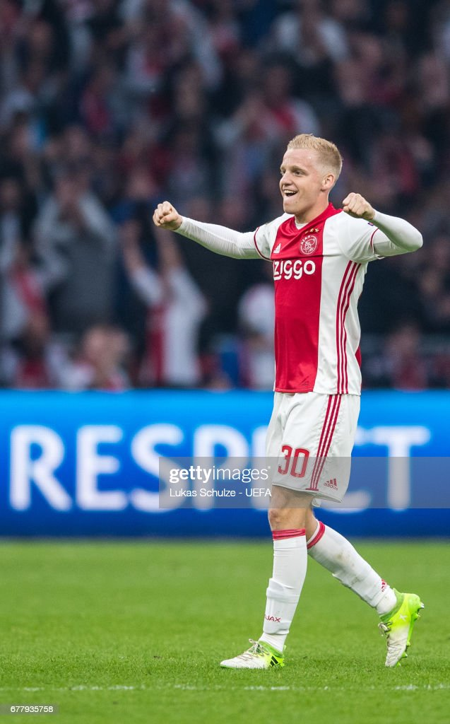 Donny van de Beek of Amsterdam reacts after winning the Uefa Europa League, semi final first leg match, between Ajax Amsterdam and Olympique Lyonnais at Amsterdam Arena on May 3, 2017 in Amsterdam, Netherlands.