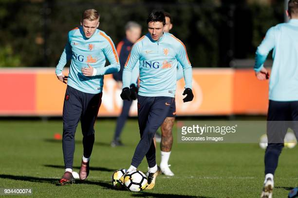 Donny van de Beek of Holland Steven Berghuis of Holland during the Training Holland at the KNVB Campus on March 19 2018 in Zeist Netherlands