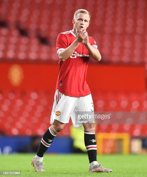 Donny van de Beek of Manchester United applauds the fans after the pre-season friendly match between Manchester United and Brentford at Old Trafford...