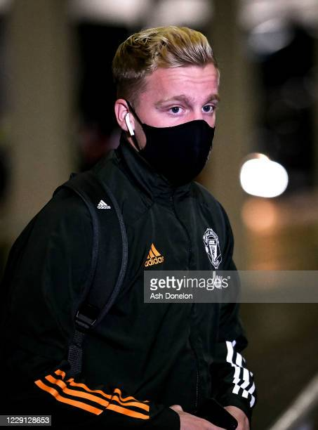 Donny van de Beek of Manchester United arrives prior to the Premier League match between Newcastle United and Manchester United at St James Park on...
