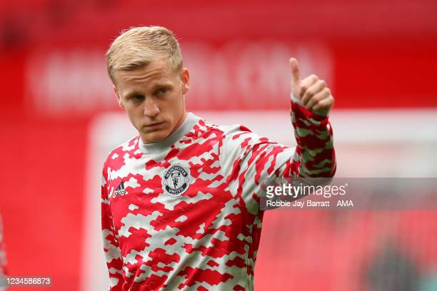 Donny van de Beek of Manchester United during the Pre Season Friendly fixture between Manchester United and Everton at Old Trafford on August 7, 2021...
