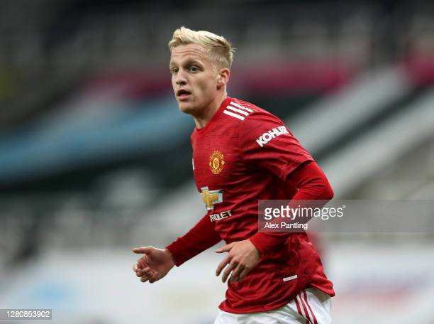Donny van de Beek of Manchester United during the Premier League match between Newcastle United and Manchester United at St James Park on October 17...