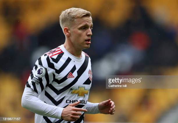 Donny van de Beek of Manchester United during the Premier League match between Wolverhampton Wanderers and Manchester United at Molineux on May 23,...