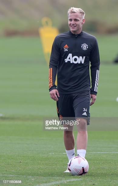 Donny van de Beek of Manchester United in action during a first team training session at Aon Training Complex on September 09 2020 in Manchester...