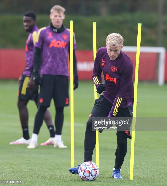 Donny van de Beek of Manchester United in action during a first team training session ahead of the UEFA Champions League Group H stage match between...