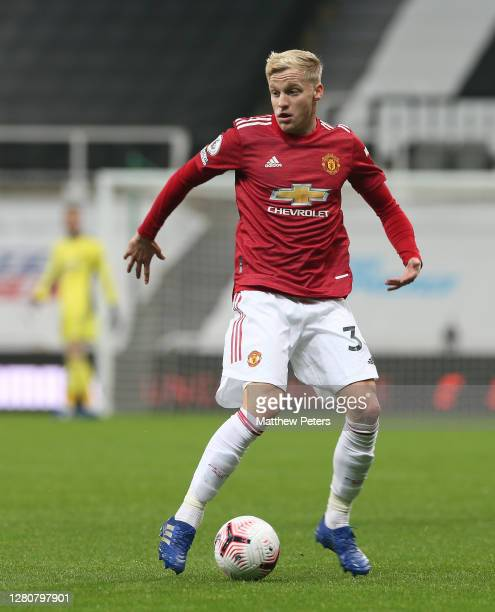Donny van de Beek of Manchester United in action during the Premier League match between Newcastle United and Manchester United at St James Park on...