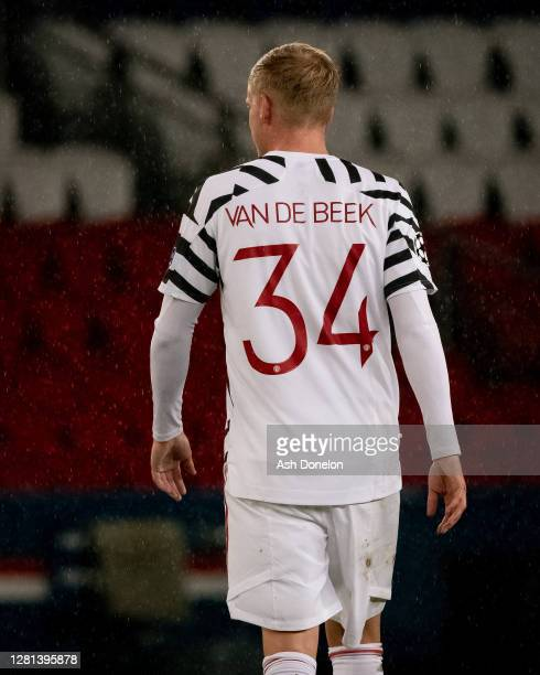 Donny van de Beek of Manchester United in action during the UEFA Champions League Group H stage match between Paris SaintGermain and Manchester...