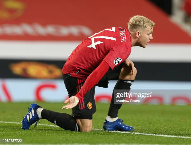 Donny van de Beek of Manchester United in action during the UEFA Champions League Group H stage match between Manchester United and RB Leipzig at Old...