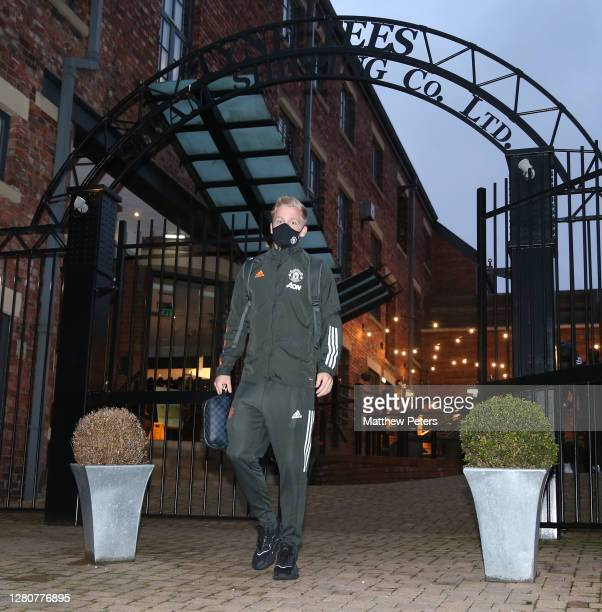 Donny van de Beek of Manchester United leaves the team hotel ahead of the Premier League match between Newcastle United and Manchester United at St...