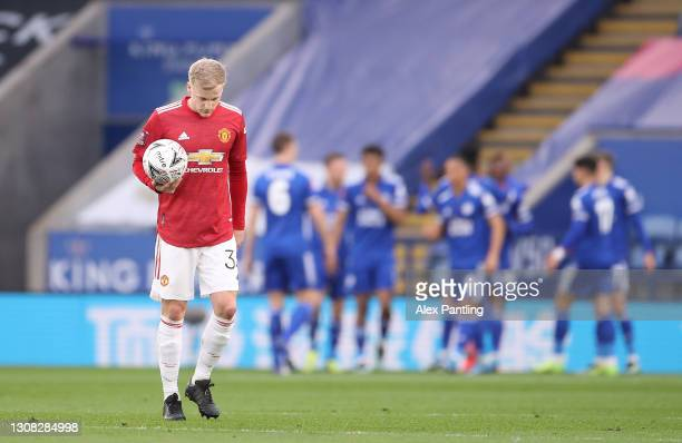 Donny van de Beek of Manchester United looks dejected after conceding his side's first goal during the Emirates FA Cup Quarter Final match between...