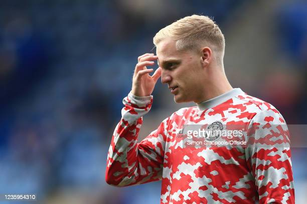 Donny van de Beek of Manchester United looks on before the Premier League match between Leicester City and Manchester United at The King Power...
