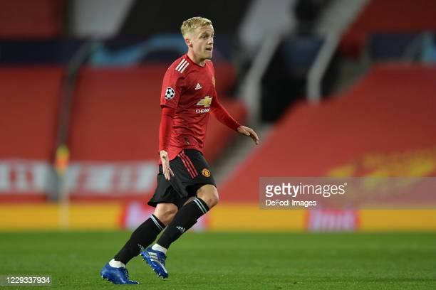 Donny van de Beek of Manchester United looks on during the UEFA Champions League Group H stage match between Manchester United and RB Leipzig at Old...