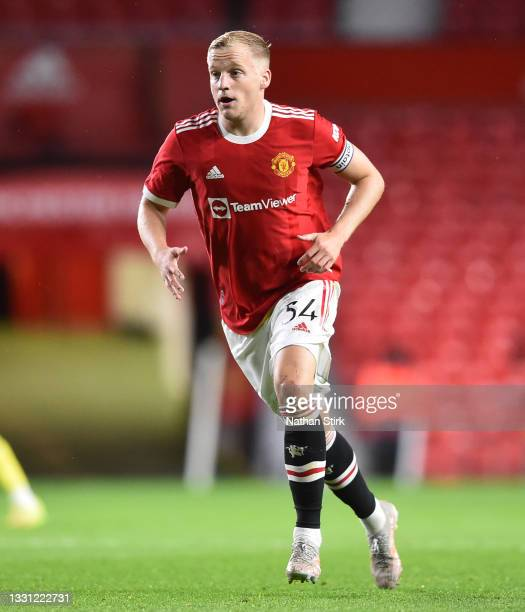 Donny van de Beek of Manchester United makes a run during the pre-season friendly match between Manchester United and Brentford at Old Trafford on...