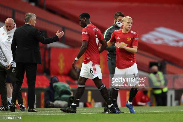 Donny van de Beek of Manchester United makes his debut replacing Paul Pogba during the Premier League match between Manchester United and Crystal...