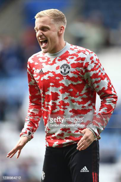 Donny van de Beek of Manchester United reacts before the Premier League match between Leicester City and Manchester United at The King Power Stadium...