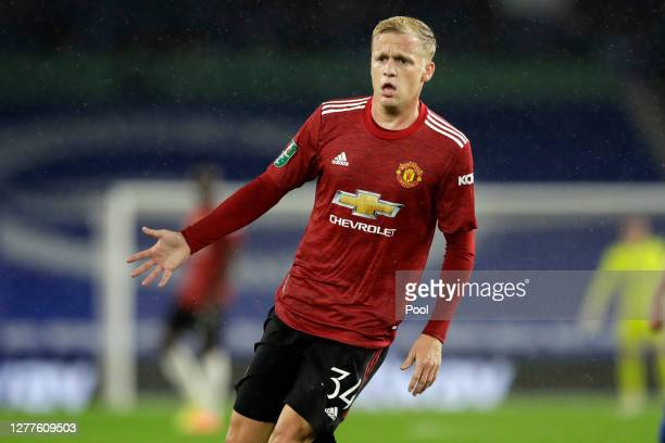 Donny Van De Beek of Manchester United reacts during the Carabao Cup fourth round match between Brighton and Hove Albion and Manchester United at...