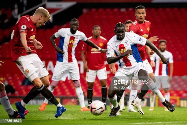 Donny van de Beek of Manchester United scores their first goal during the Premier League match between Manchester United and Crystal Palace at Old...