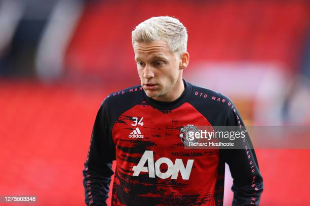 Donny Van De Beek of Manchester United warms up prior to the Premier League match between Manchester United and Crystal Palace at Old Trafford on...