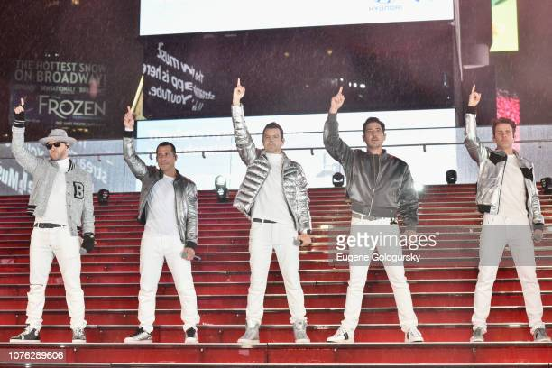 Donny Wahlberg Danny Wood Jordan Knight Jonathan Knight and Joey McIntyre of New Kids on the Block perform on stage during Dick Clark's New Year's...
