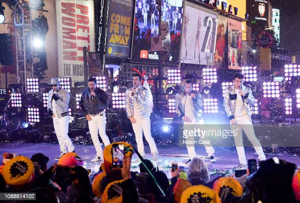 Donny Wahlberg Danny Wood Jordan Knight Jonathan Knight and Joey McIntyre of New Kids on the Block perform during New Year's Eve 2019 in Times Square...