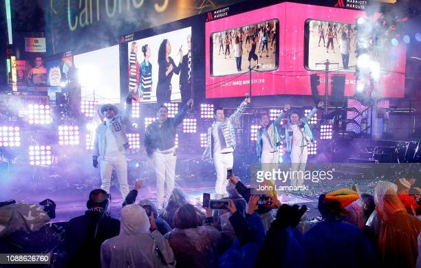 Donny Wahlberg Danny Wood Jordan Knight Jonathan Knight and Joey McIntyre of the New Kids perform during the Times Square New Year's Eve 2019...